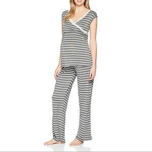 New Lamaze Nursing 2pc Gray Striped Pajama Set